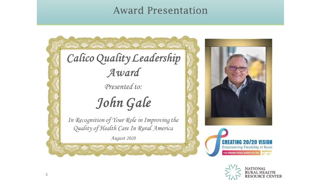 John Gale Certificate and head shot photo