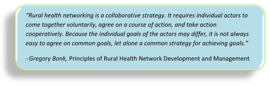 Quote from Gregory Bonk's text, Principles of Rural Health Network Development and Management, on rural health networking as a collaborative strategy.