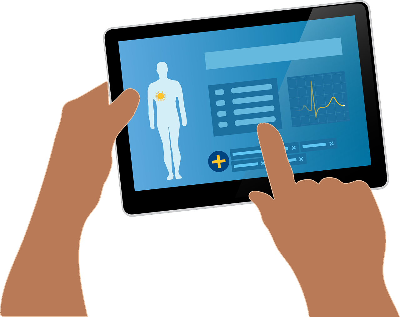Illustration of someone holding a tablet that displays a health record