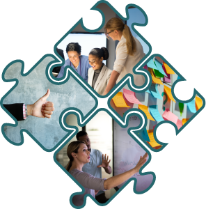 Puzzle pieces depicting health workers collaborating, sticky notes on a wall during a planning session, people reviewing data on a whiteboard, and a thumbs up.