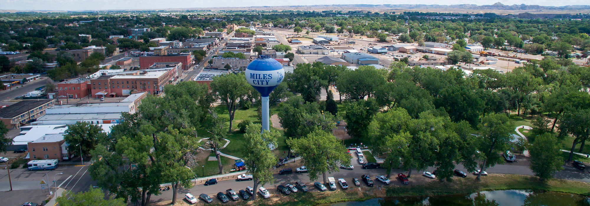 An aerial photo of Miles City, Montana